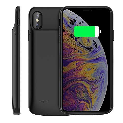 iPhone XS Max Custodia Batteria, 6000mAh Caricabatteria Esterno Portatile Power Bank Backup Estesa Integrata Batteria Caso di Ricarica Custodia Protettiva per iPhone XS Max 2018 Nero
