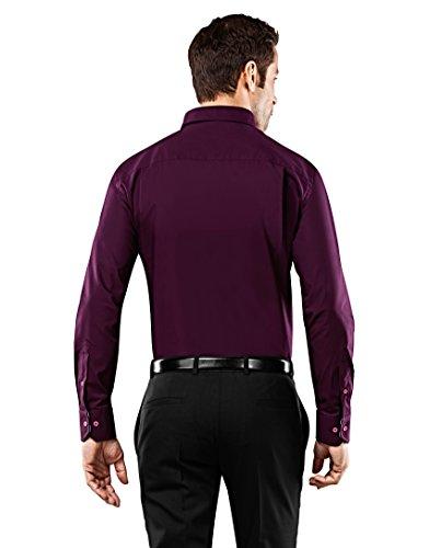 Vincenzo Boretti Herren-Hemd Bügelfrei 100% Baumwolle Slim-Fit Tailliert Uni-Farben - Männer Lang-Arm Hemden für Anzug mit Krawatte Business Hochzeit Freizeit Aubergine