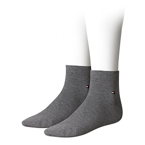 Tommy Hilfiger Herren Quarter Socken Flag Quartersocken 4er Pack, Größe:47-49;Farbe:middle grey melange