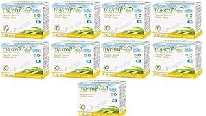 Masmi Regular Tampons Organic Cotton Non Applicator, Certified Natural Organic, Hypoallergenic, 100% Biodegradable, Perfume, Viscose, Rayon, Chlorine and Dioxin Free