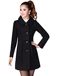 Women's Doll Collar Slim Fitted Single Breasted Fuax Pashm Wool Coat Trench Coat