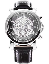 Boudier & Cie SK14H040 - Reloj analógico de pulsera para hombre (esqueleto mecánico, automático), correa de cuero negra