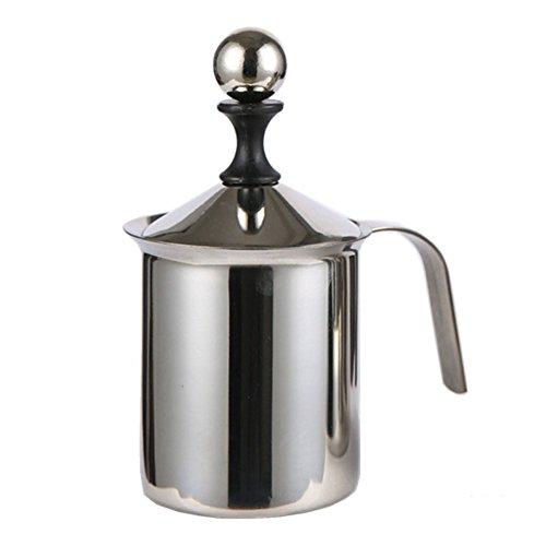 Milchaufschäumer aus Edelstahl, 400 ml/800 ml, manueller Milchaufschäumer, doppelter Netzstoff, manueller Milchkaffee, Cappuccino 800 ml Wie abgebildet