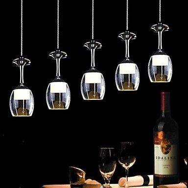 KJLARS Modernes Restaurant LED Pendelleuchte 5 leuchtet Acryl warm- weiße Licht Hängelampe, Esstisch Pendellampe