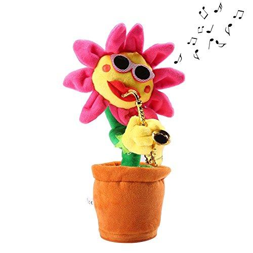 Zantec Lautsprecher Spreche, Radio Lustige singende und tanzende bezaubernde Sonnenblume mit Saxophon Weihnachtsgeburtstags Geschenk Dekorations Spielzeug