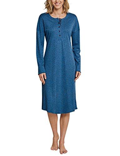 Schiesser Damen Nachthemd 1/1 Arm, 110cm, Blau (Petrol 811), 42