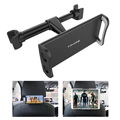 Tryone supporto tablet poggiatesta auto, supporto per tablet per sedile d'auto per ipad/samsung galaxy tab/amazon kindle fire hd/nintendo switch/altri ecc di 4,7-10,5 pollici (nero)