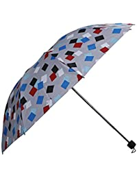 Umbrella Mart 3 Fold Checks Printed Rain & Sun Protective Umbrella (Grey/Multi)