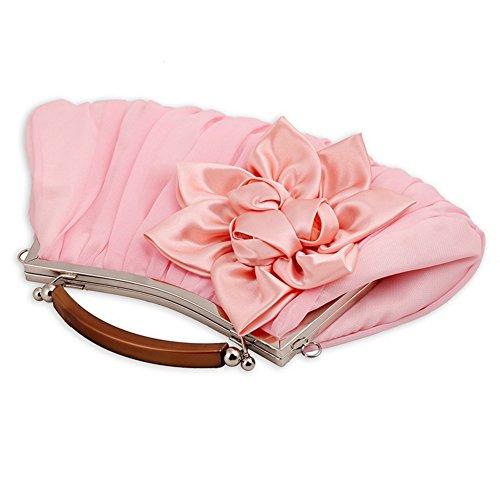 Sallyshiny-Borsetta da donna a forma di fiore, per sera, con scritta: Evening Clutch Sacchetti regalo per matrimonio (rosa)