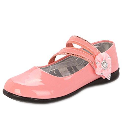 Maxu Girl's, glitzernd, PU-Mary-Jane-Schuh Schuhe mit Blume, Rosa - rose - Größe: (Rosa Glitter Mary Jane Schuhe)