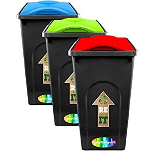CrazyGadget® 50L 50 Litre Rubbish Plastic Recycle Kitchen