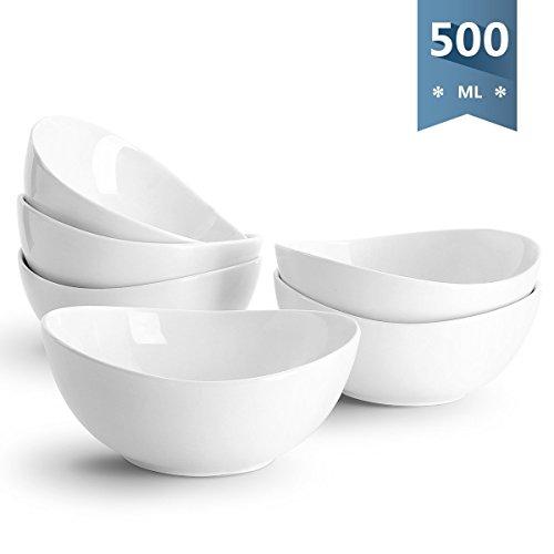 Sweese 1101 Müslischalen 6er Set aus Porzellan, Füllmenge 500 ml, Müslischüssel, Müsli Schale, Dessertschale, Snackschale, Eisschale, Schüssel