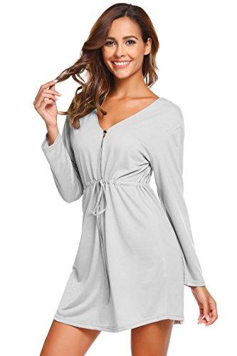 chnitt Nachthemd Langarm Schlafkleid Kurz Sleepshirt Baumwolle Nachtwäsche mit ein Knopf und Gürtel (Polyester Nachthemd)