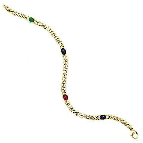 Bracelet avec émeraude bleu saphir rubis cabochons en or 585 jaune massif pour femme