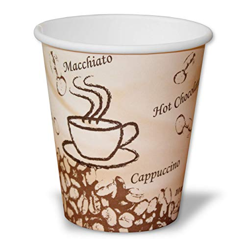 r 250ml | umweltfreundliche Einwegbecher aus PLA | 50 Stück biologisch abbaubare Kaffee to go Becher ()