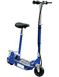 HOMCOM Patinete Eléctrico Scooter Plegable con Manillar y Asiento Ajustable tipo Monopatín con Freno y Caballete 120W Carga 70kg 81.5x37x96cm Color Negro (Azul)