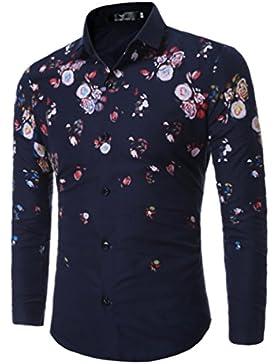 WanYang Uomo Camicie Fiore Retro Uomo Moda Stampa Casuale Camicia Slim Shirts