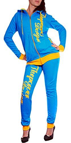 Damen Sportanzug Boxusa Jogginganzug Thepower Design Jogger Hoodie Jacke  4134 100% Baumwolle (XXL, Türkis) 30f70038c9