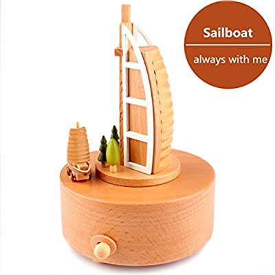 Solid Wooden Music Box Carousel Music Boxes Merry-go-round Musical Box Christmas Birthday Gifts for Kids Baby Toddle