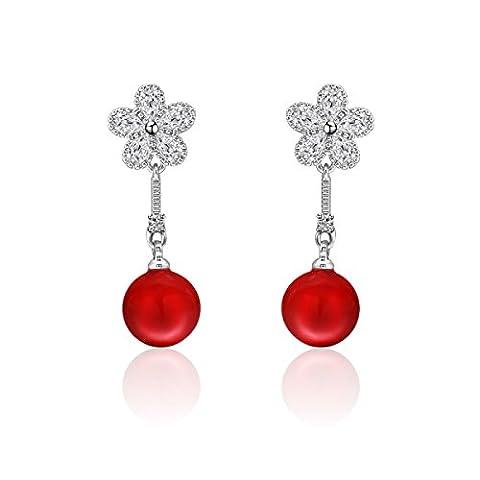 L / C. Boucles D'oreilles De Perles De Zircons Européens Et Américains Simples Boucles D'oreilles De Zircons De Fleurs,Red-OneSize
