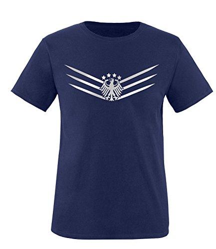 Luckja EM 2016 Deutschland Fanshirt 2016 Silver Edition M 02 Herren Rundhals T-Shirt Navy/Silber