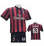 Completo Calcio Maglia Cutrone 63 Milan + Pantaloncino con Numero 63 Stampato Replica Autorizzata 2017-2018 Bambino (Taglie 2 4 6 8 10 12) Adulto (S M L XL) (10 Anni)
