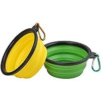 Vivifying plegable perro cuenco, Recipiente de viaje plegable de silicona libre de BPA para alimentos y agua (Verde + Amarillo)