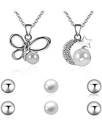 Lorsoul Cadena Collar Colgante de la Mujer Delicada Mosca de la Mantequilla Luna Star Girl Rhinestone espumoso con la joyería de Perlas Regalo