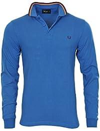 Fred Perry Polo Poloshirt Homme Bleu Foncé Bourgogne,Orange coupe étroite Cotton Casual M