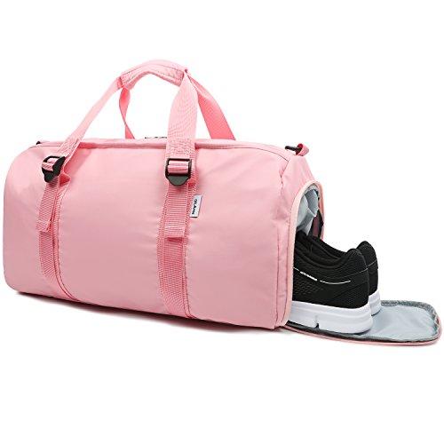 Oflamn Sporttasche mit Schuhfach für Männer und Damen - Reisetasche für Draussen Sport Fitness - Einschließen Separate Nasstasche - Sports Gym Bag (2.0 rosa)