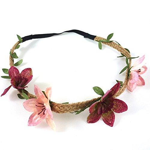 rougecaramel–Accesorios Cabello–Headband Corona de flores boda o ceremonia–Rosa/Burdeos