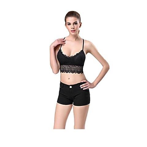 Tefamore Femmes sexy Stripe Bralette Bustier Top Tops Veste de soutien-gorge (Taille libre, Noir)