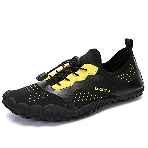 BODOGY Scarpette Da Surf Da Water Shoes Unisex Scarpe Da Immersione Tessuti Elastici Scarpe Da Ginnastica Stringate Scarpe Da Nuoto Primaverili Ed Estive,blackyellow,47EU