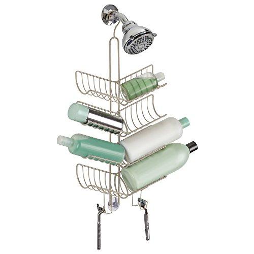 Mdesign cestino per doccia a scomparti – portaoggetti doccia da appendere per shampoo e prodotti vari – mensola doccia a ventosa – con scomparti obliqui per flaconi – satinato