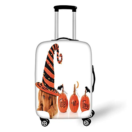 Travel Luggage Cover Suitcase Protector,Halloween,Cute Puppy Wearing a Witch Hat Trick or Treat Little Bats Festive Funny,Orange Black Brown,for Travel