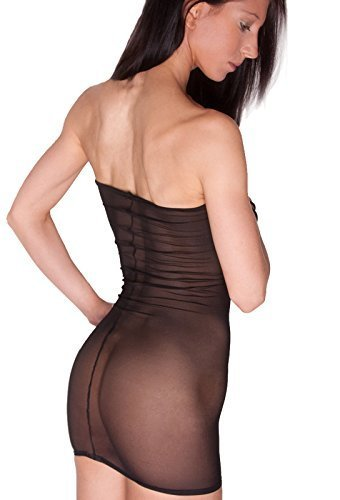 Size 14-16 (To Fit: 32-34 Inch Waist / 36-40 Inch Hips / 22-23 Inch Length) D20 Black Net Very Short See Through Boob Tube Mini Dress by NA