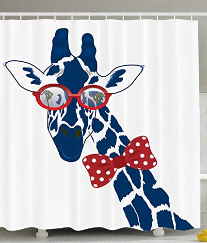 Giraffe Shower Curtain Wildlife Animal Decor by, Fun Whimsical Funny Giraffe Gafas de sol estilo hipster y corbatín, tejido de poliéster Conjunto de cortina de ducha de baño con ganchos, Azul marino