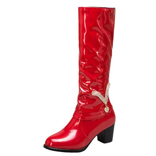 AIYOUMEI Damen Langschaftstiefel Blockabsatz Lackstiefel High Heels Lack Stiefel mit Strass Rot 43 EU