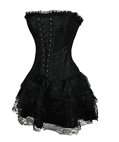 Women's Overbust Corset Lace up Bustier with Skirt S-2XL 4 Colors (M, Black)