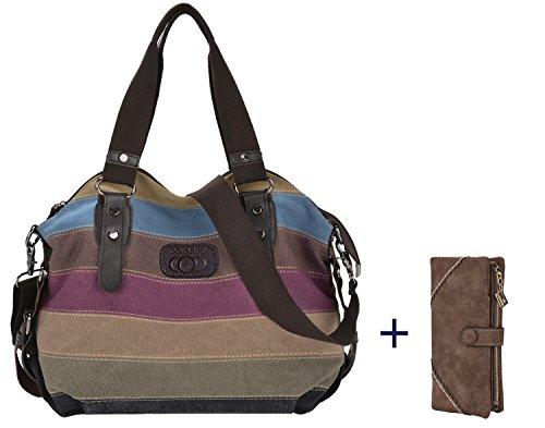 Coofit Borse Donna Tela Multi-Colore spalla Borsa due Cinghie (con Moda Portafogli)