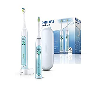 Philips Sonicare HealthyWhite Elektrische Zahnbürste mit Schalltechnologie HX6732/37, weiß/grün, Doppelpack