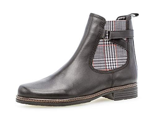 Gabor Damen Stiefelette 34.670, Frauen Chelsea Boots,Stiefel,Halbstiefel,Bootie,Schlupfstiefel,flach,schwarz (Kombi),42 EU / 8 UK