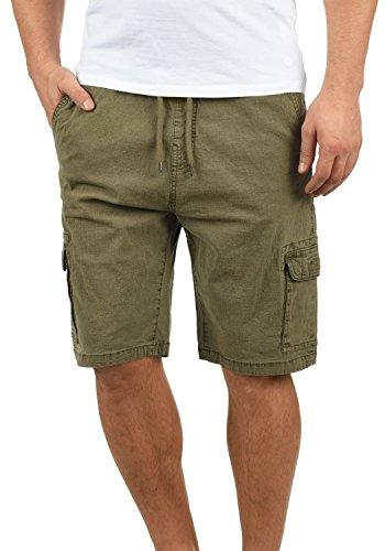 Indicode Frances Herren Cargo Shorts Bermuda Kurze Hose Mit Elastischem Bund Aus Stretch-Material Regular Fit, Größe:L, Farbe:Army (600)