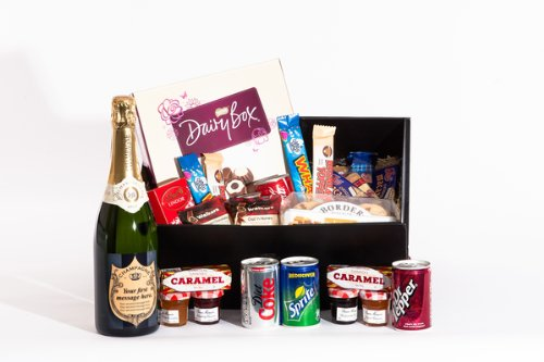Large Sweet Treats and Personalised Champagne Gift Hamper. Birthday, Anniversary, Engagement, Easter, Mother's day, Father's day, Valentine's day, Wedding or Christmas gift idea