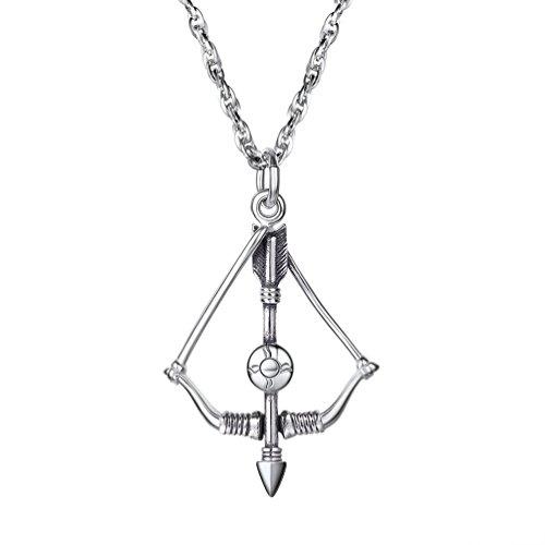 PROSTEEL Anhänger Halskette, Edelstahl Pfeil und Bogen Anhänger Kettenanhänger Herren Damen Jungen Schmuck mit 55cm Singapurkette, Silber
