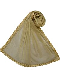 Malhotra and Sons Tissue Net Golden Dupatta with Lace 2 Meters