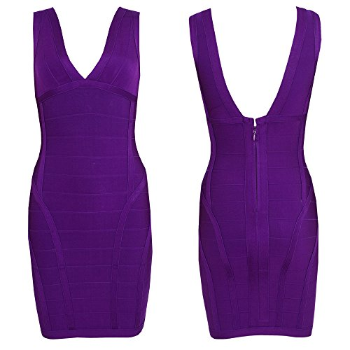 HLBandage Women's Rayon Deep V Neck Layering Bodycon Bandage Dress Violet