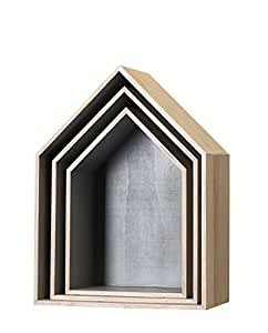 Bloomingville legno casa in Set di 3 grigio di Bloomingville
