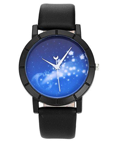 JSDDE Uhren,Fashion Blau Sternenhimmel Armbanduhr Mond Sekundenzeiger Damenuhr Lederband Analog Qaurzuhr,Sternenlicht #8