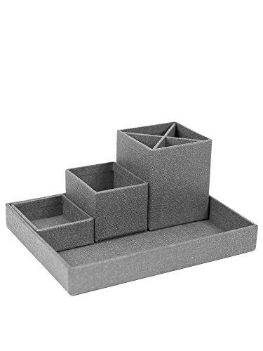 Bigso Box of Sweden Schreibtisch Organizer für Stifte, Büroklammern, Haftnotizen usw. - Sortierkasten mit 4 Fächern - Ordnungssystem aus Faserplatte und Papier in Leinenoptik - grau